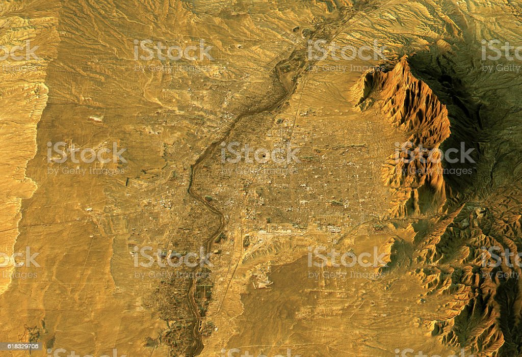 Albuquerque 3D Landscape View South-North Natural Color stock photo