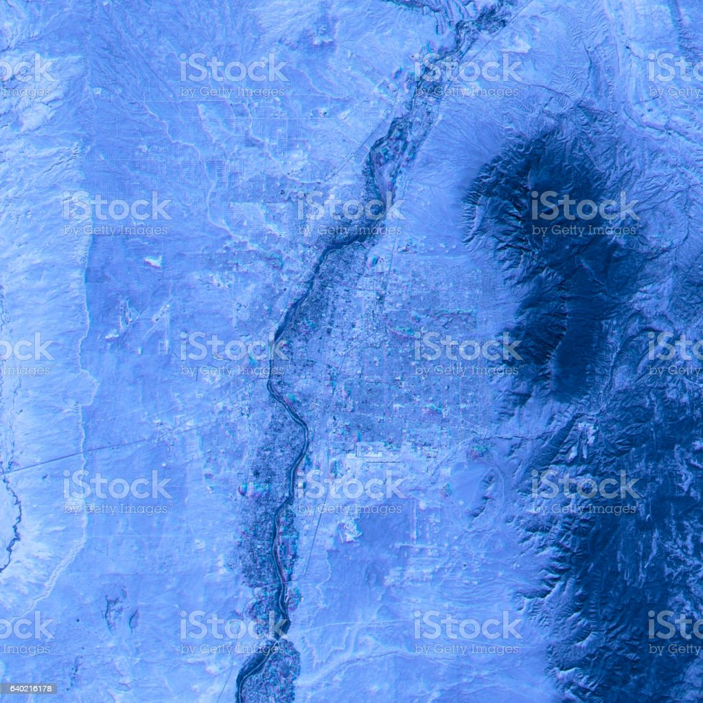 Albuquerque Abstract City Map Satellite Image Blue stock photo