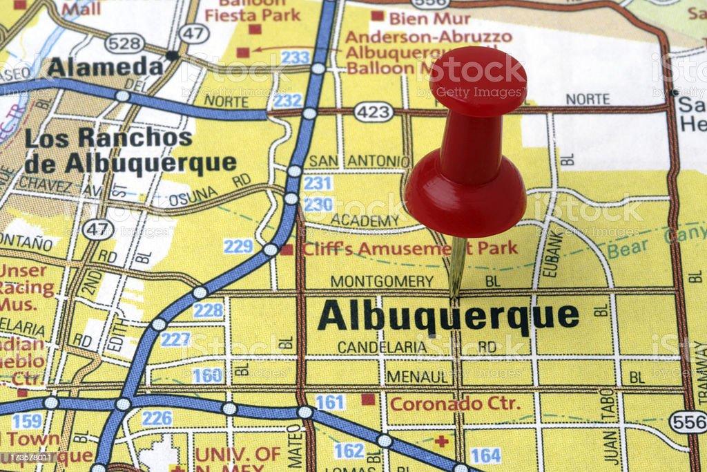 Albuquerque, New Mexico on a map. royalty-free stock photo