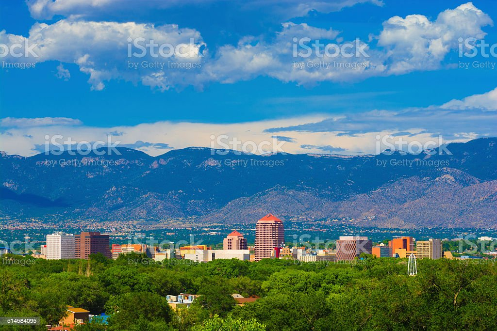 Albuquerque skyline, mountains, and clouds stock photo