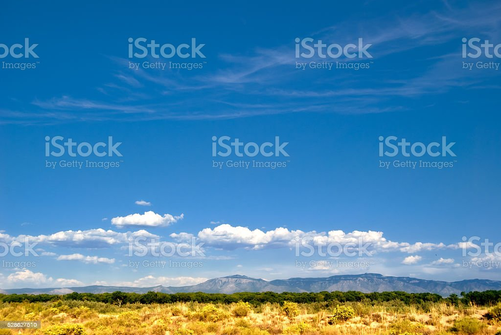 Albuquerque Southwestern Landscape with Sandia Mountains and Beautiful Sky stock photo