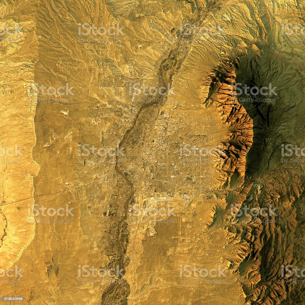 Albuquerque Topographic Map Natural Color Top View stock photo