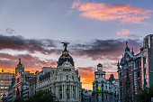 Alcala and Gran Via streets at dusk in Madrid