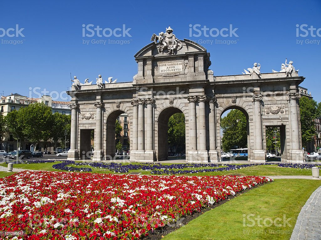 Alcala Gate in Independence Square, Madrid stock photo