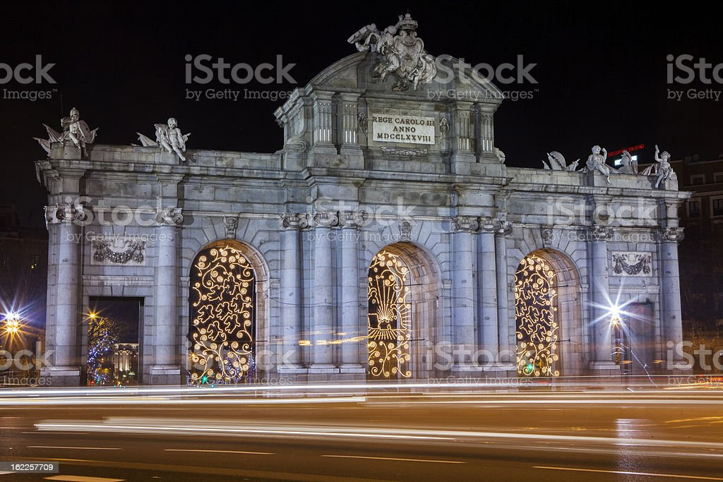 Alcala Gate Mardid with traffic blurr royalty-free stock photo