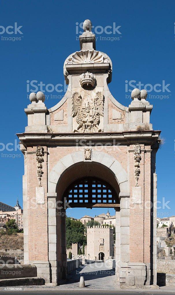 Alcantara bridge entrance. Toledo.Spain stock photo