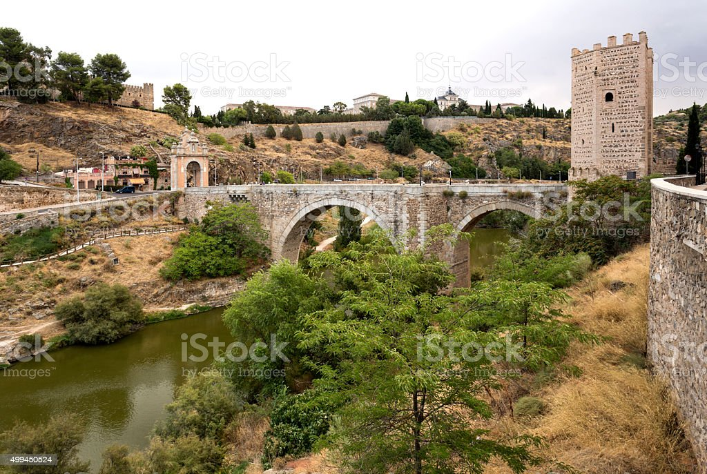 Alcantara Bridge in Toledo stock photo