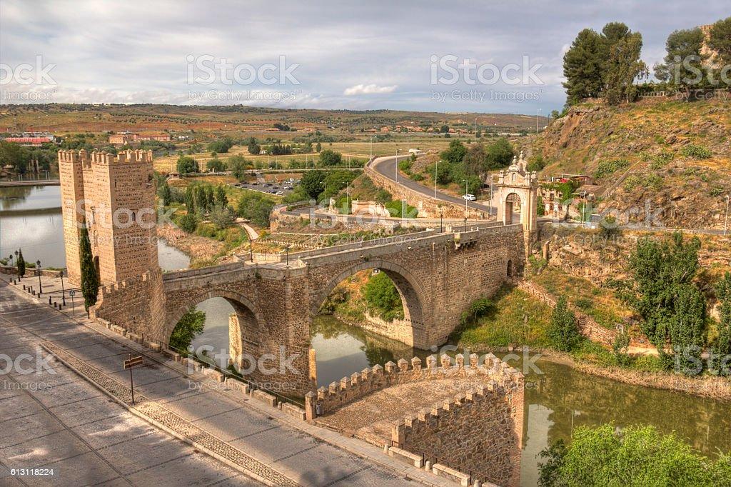 Alcantara Bridge in Toledo, Spain stock photo