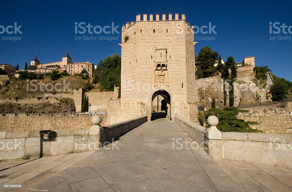 Alcantara Bridge Toledo, Spain stock photo