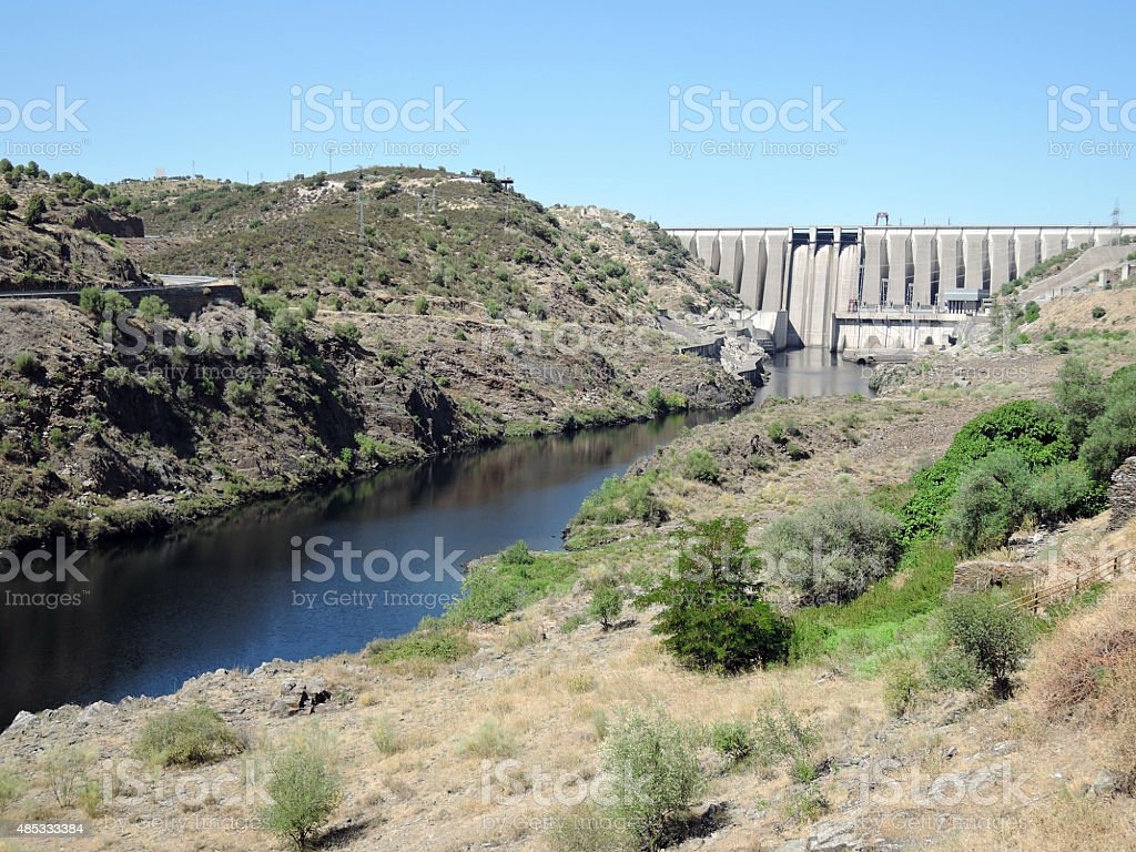 Alcantara Dam, River Tagus, Spain stock photo