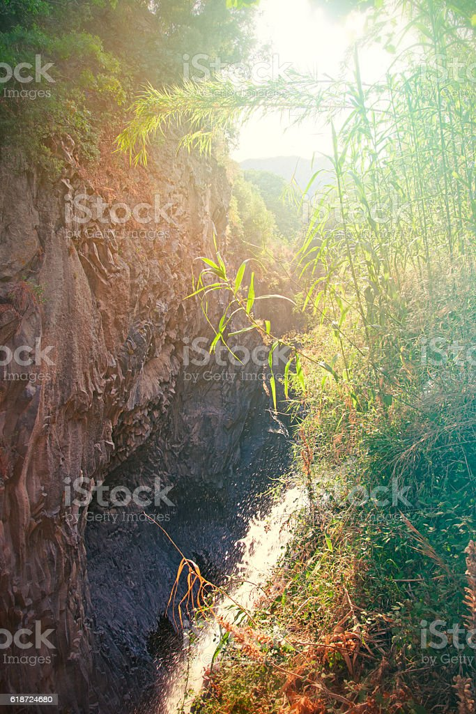 Alcantara Gorges, in Sicily stock photo