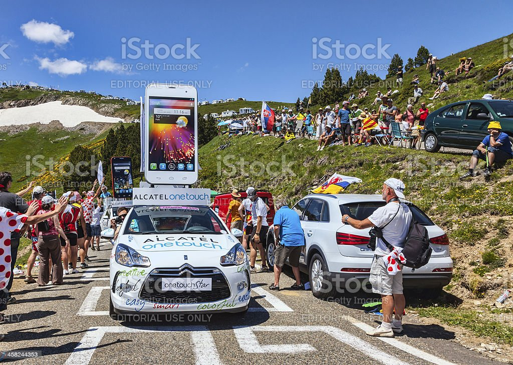 Alcatel One Touch Car in Pyrenees Mountains royalty-free stock photo