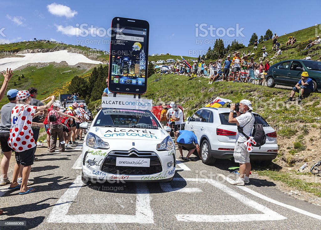 Alcatel One Touch Car in Pyrenees Mountains stock photo