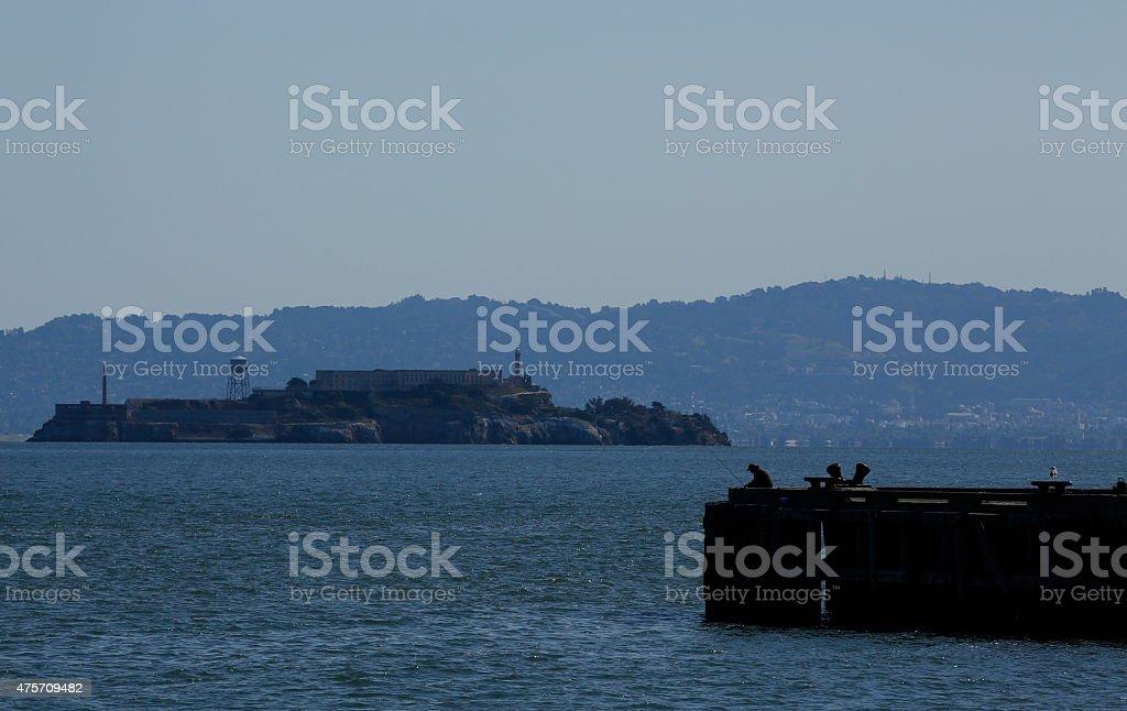 Alcatraz and Fishing royalty-free stock photo
