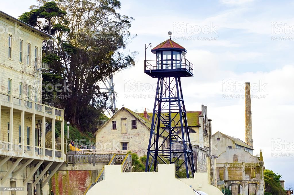 Alcatraz guard tower, San Francisco, California stock photo