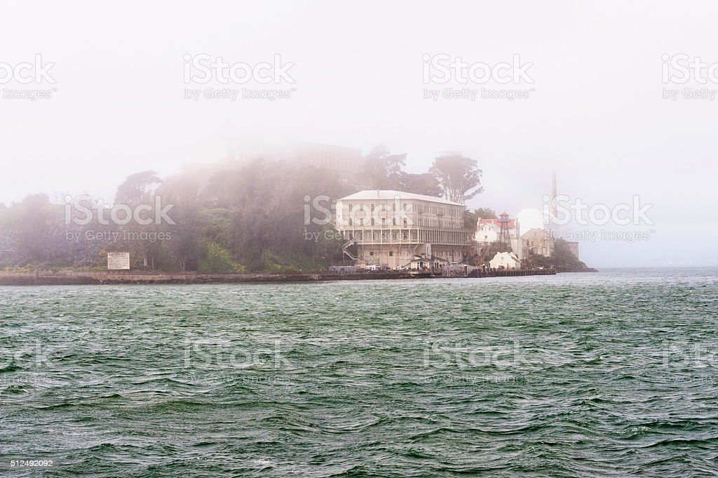 Alcatraz in the bay shrouded by Fog stock photo