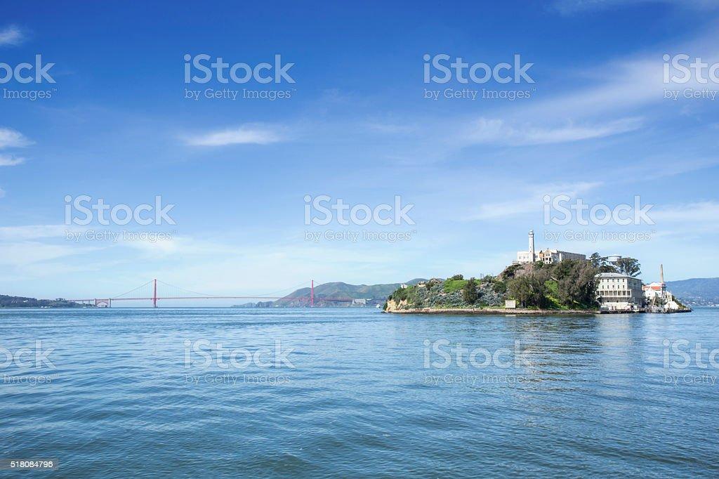 Alcatraz Island and Golden Gate Bridge stock photo