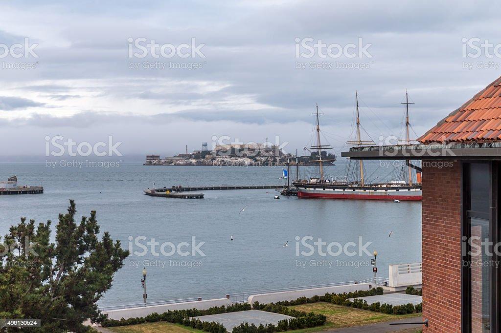 Alcatraz island and Habor in San Francisco stock photo