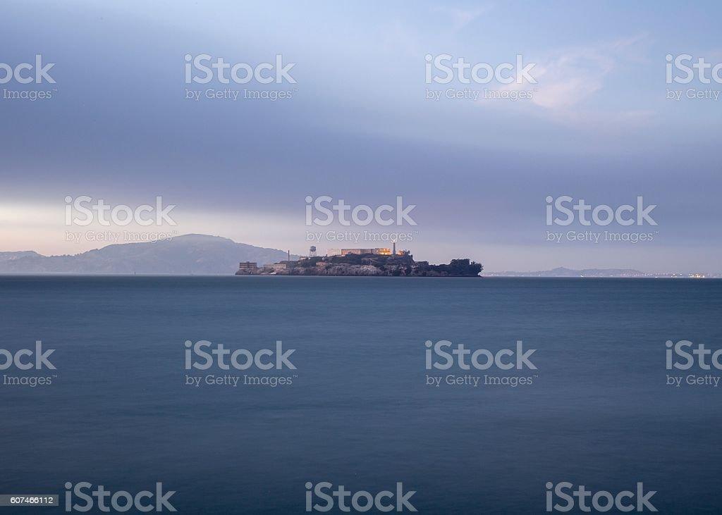 Alcatraz Island and San Francisco Bay stock photo