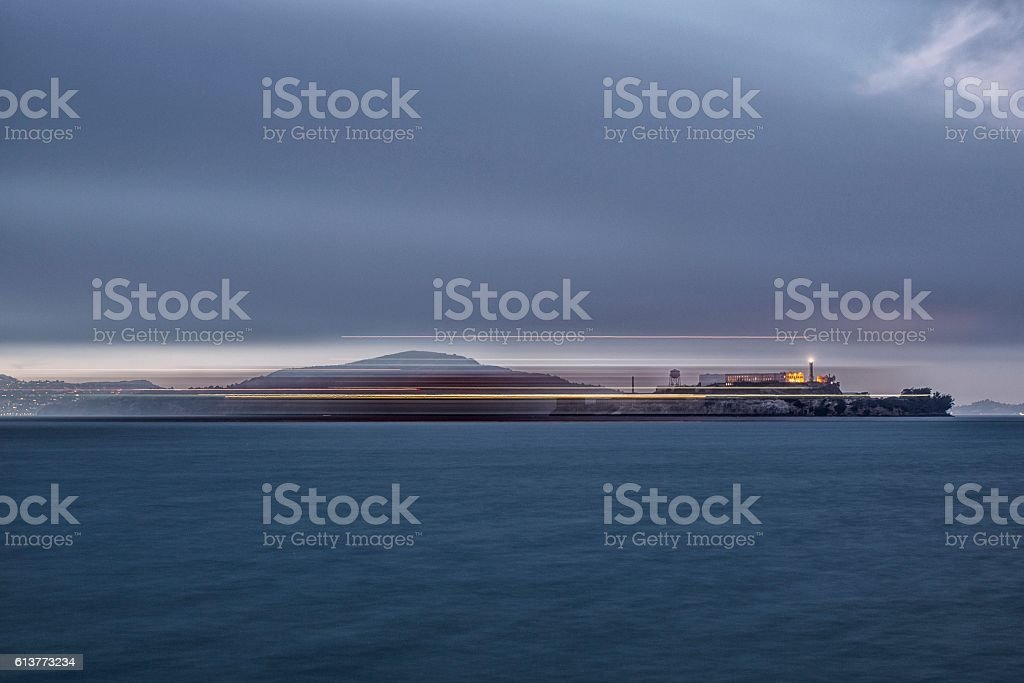 Alcatraz Island and San Francisco Bay stock photo