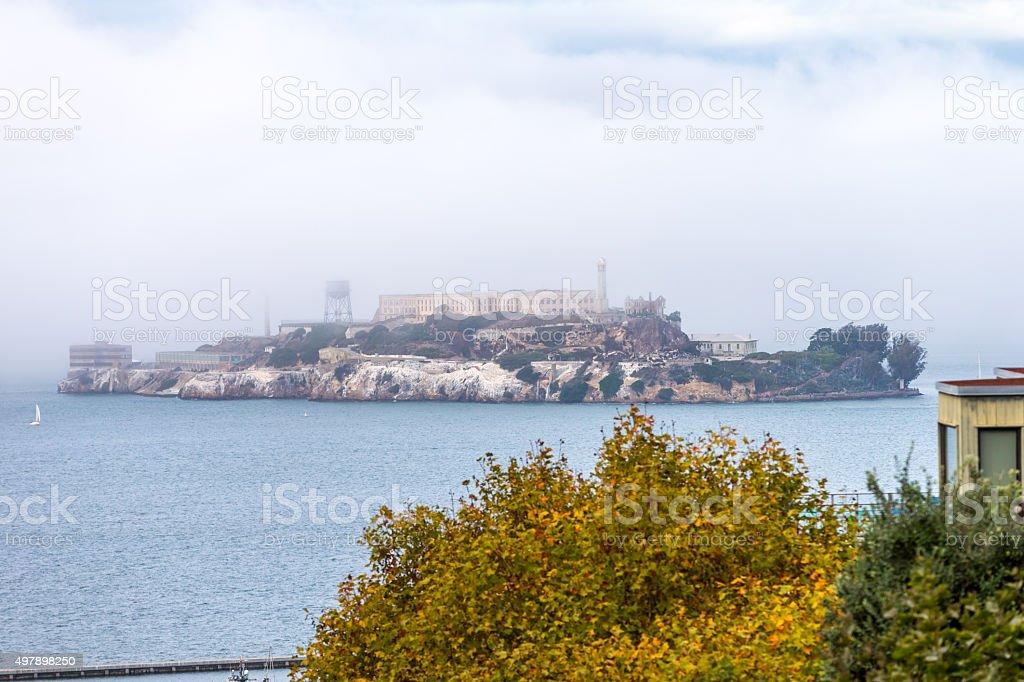 Alcatraz Island under Fog in San Francisco stock photo