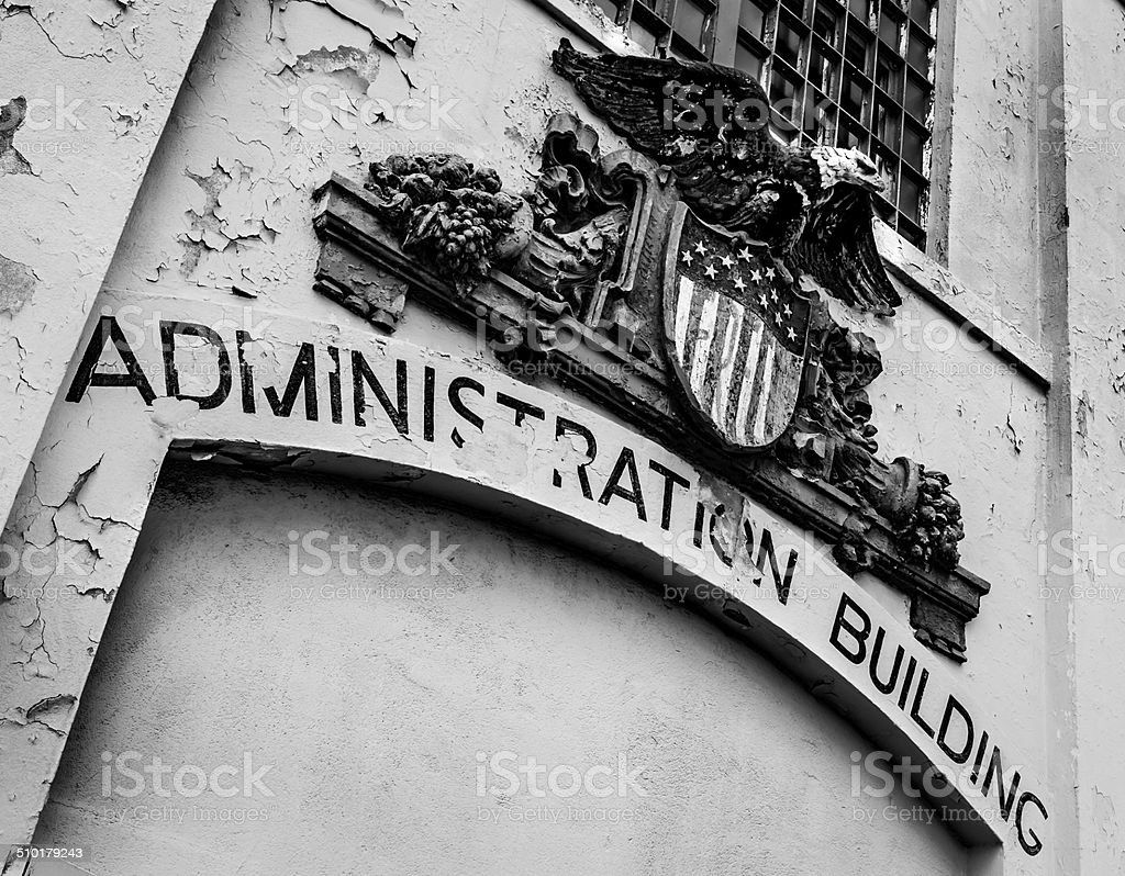 Alcatraz Prison - Administration Building Sign stock photo