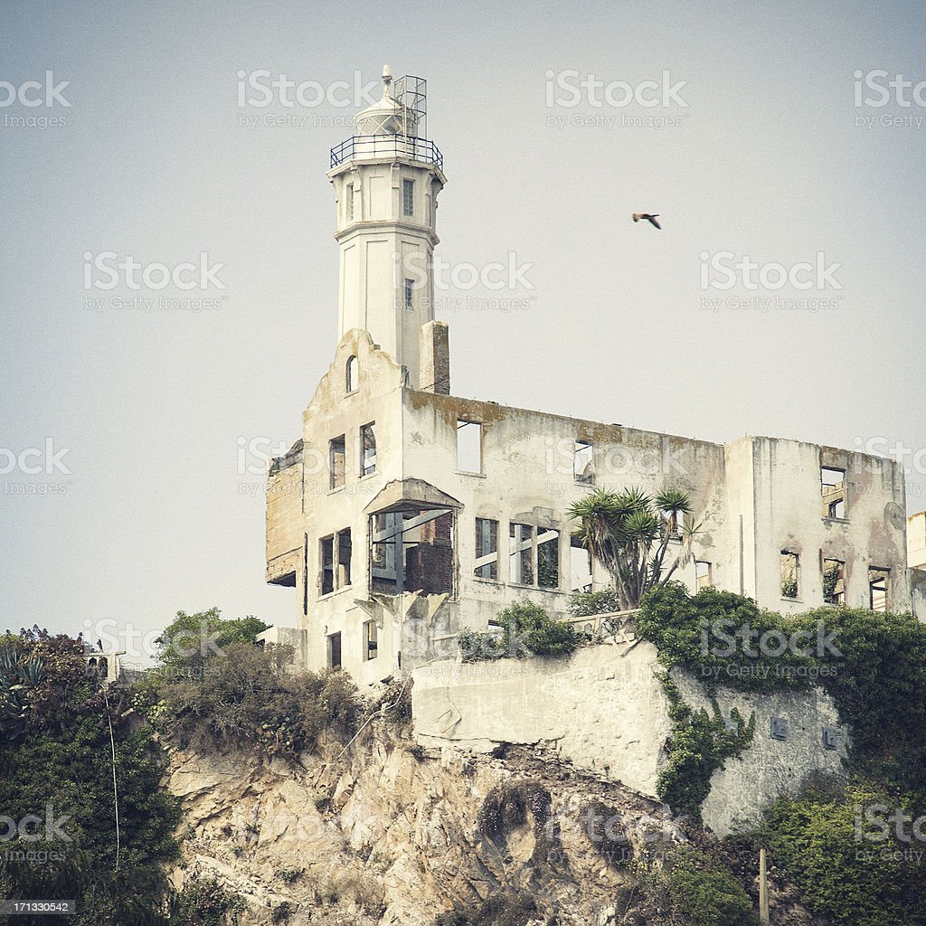 Alcatraz prison building stock photo