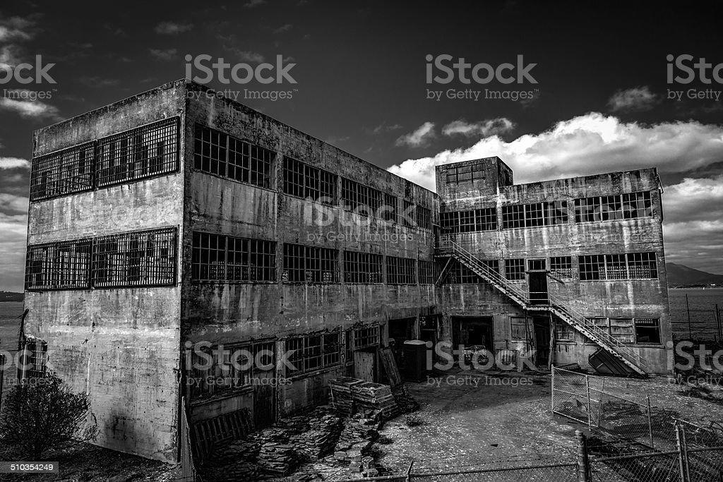 Alcatraz Prison - Model Industries Building stock photo