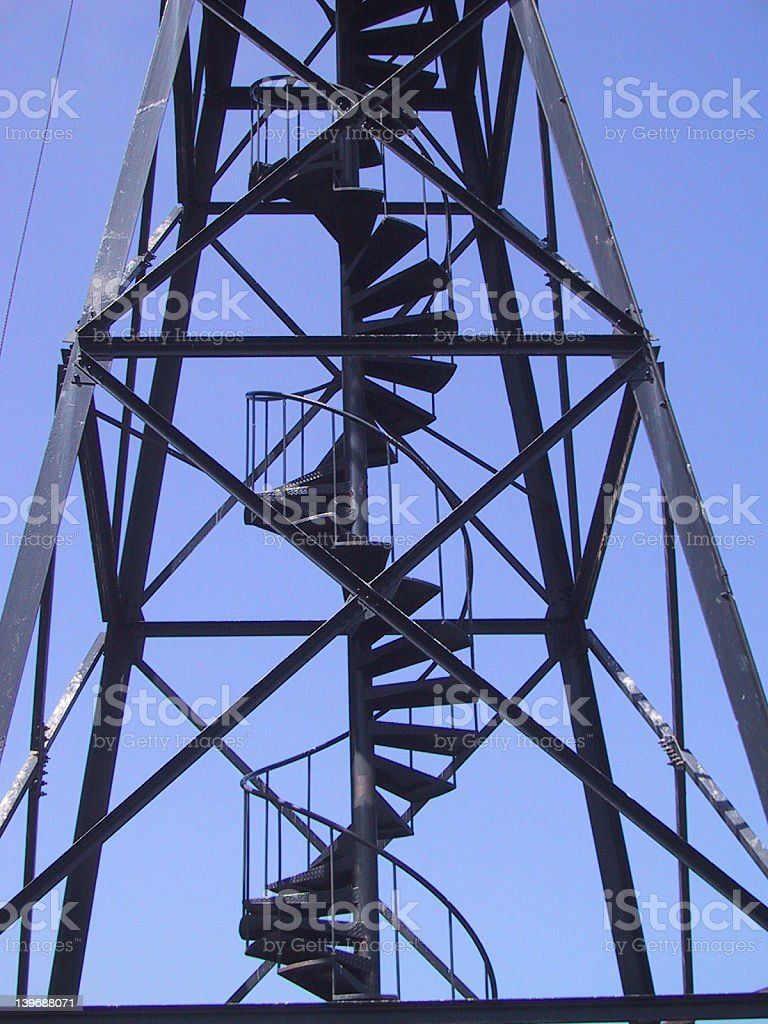 Alcatraz watch tower closeup of spiral stairs royalty-free stock photo
