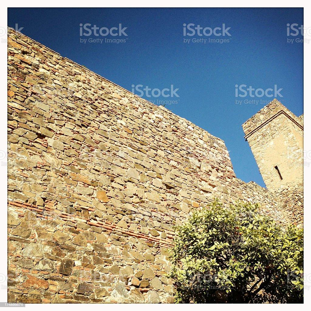 Alcazaba Fortified Wall royalty-free stock photo