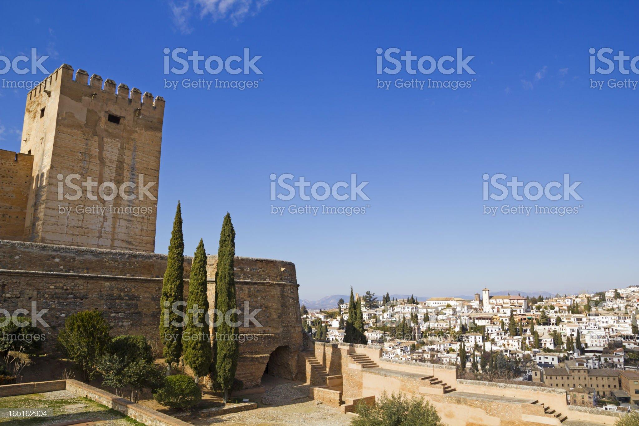 Alcazaba of Alhambra and Granada royalty-free stock photo