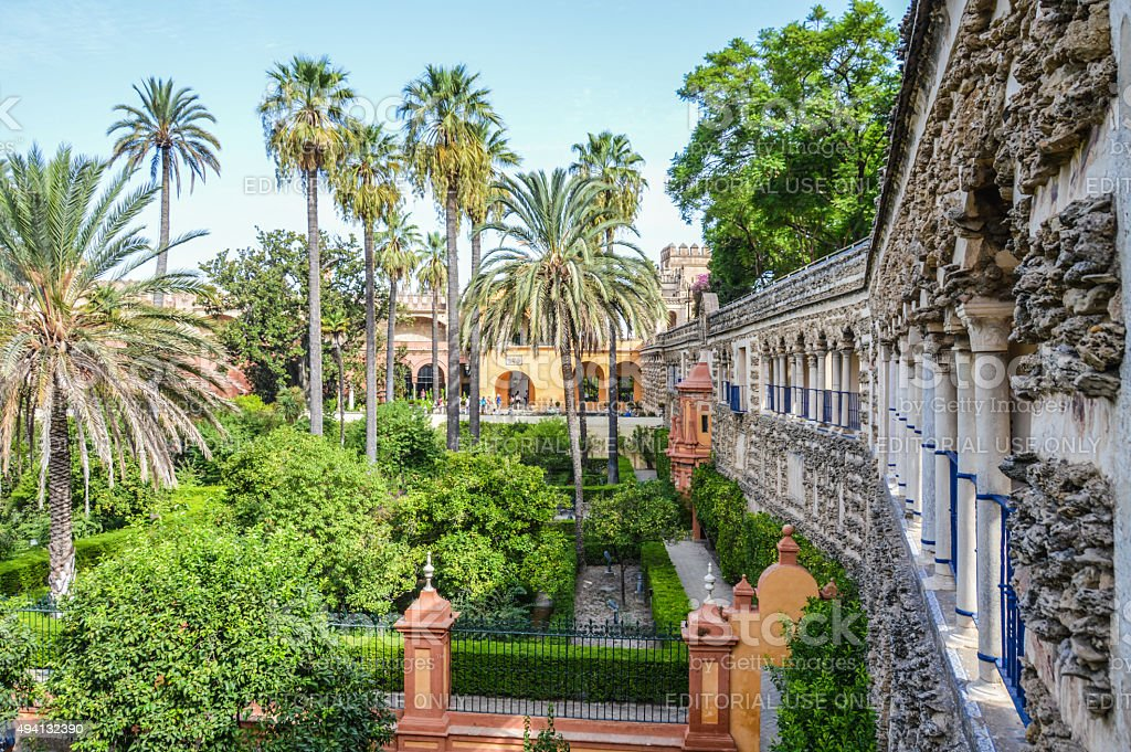Alcazar gardens in Seville, Spain stock photo