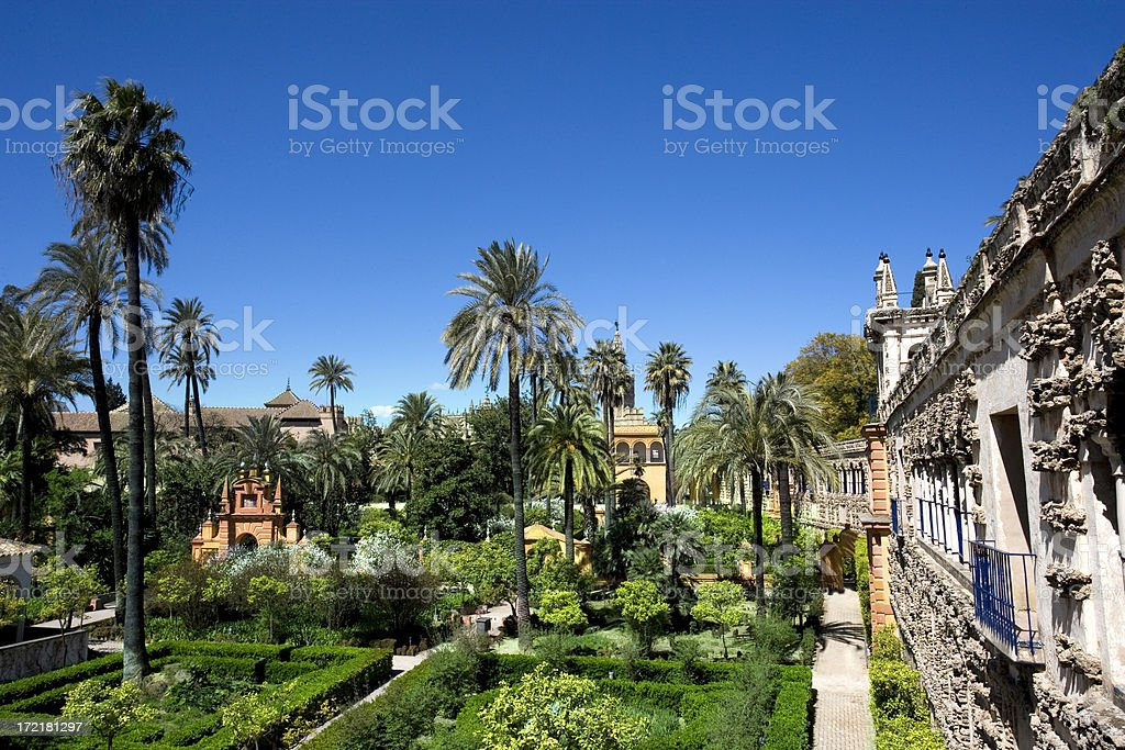 Alcazar gardens stock photo