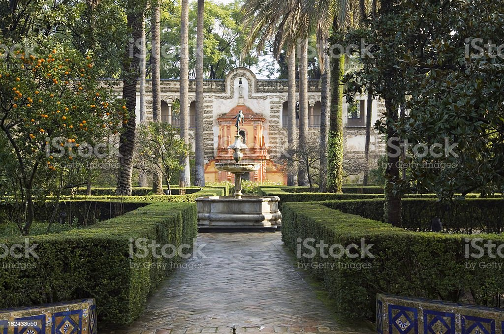 Alcazar Gardens Seville stock photo