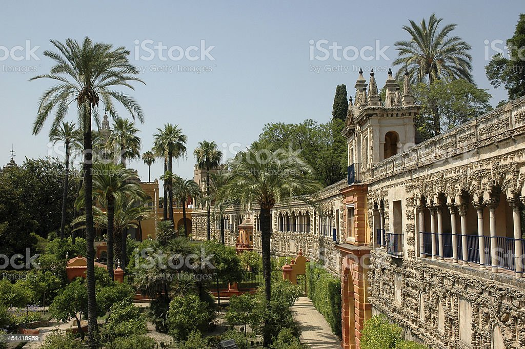 Alcazar Gardens Seville Spain stock photo