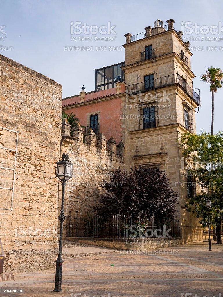 Alcazar of Jerez de la Frontera in Spain stock photo