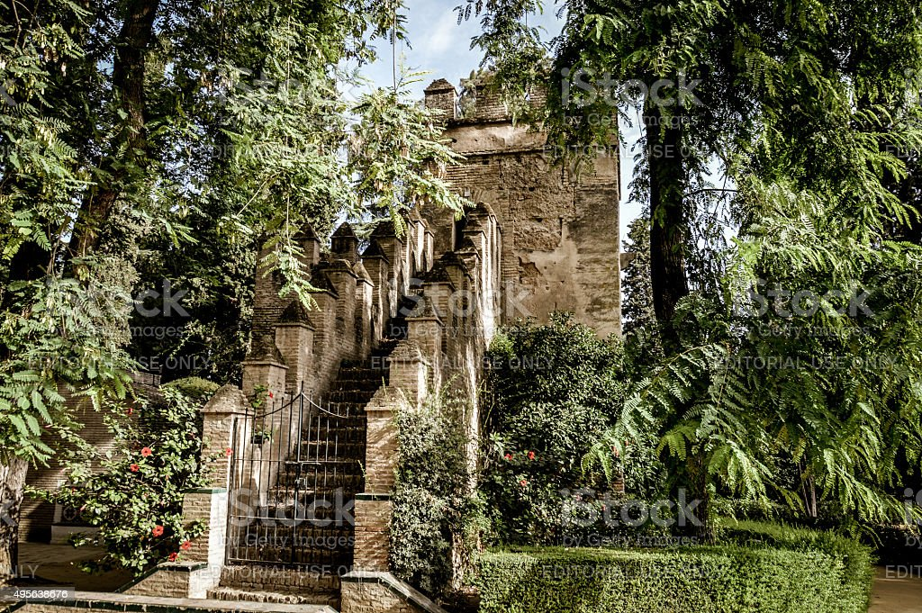 Alcazar of Seville - Ancient walls and gate stock photo