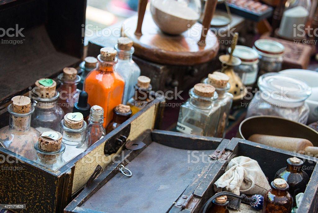 Alchemist desk stock photo