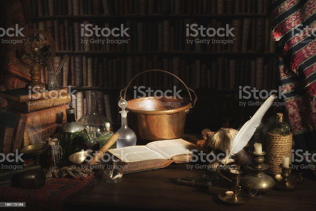 Alchemist kitchen or laboratory stock photo