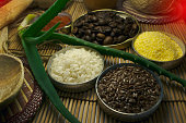 Alchemy Lab. dried herbs, salt, flasks, aloe, rice, flaxseed, coffee