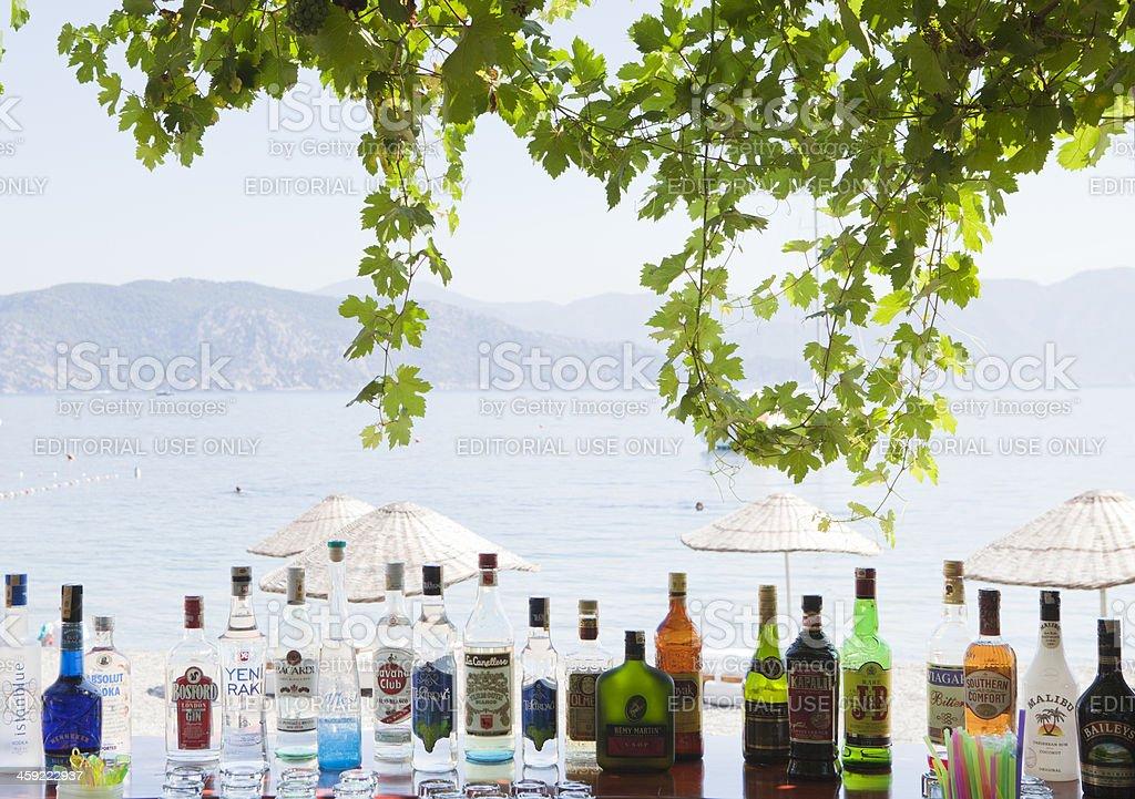 Alcholic drinks at the beach, Marmaris, Turkey stock photo