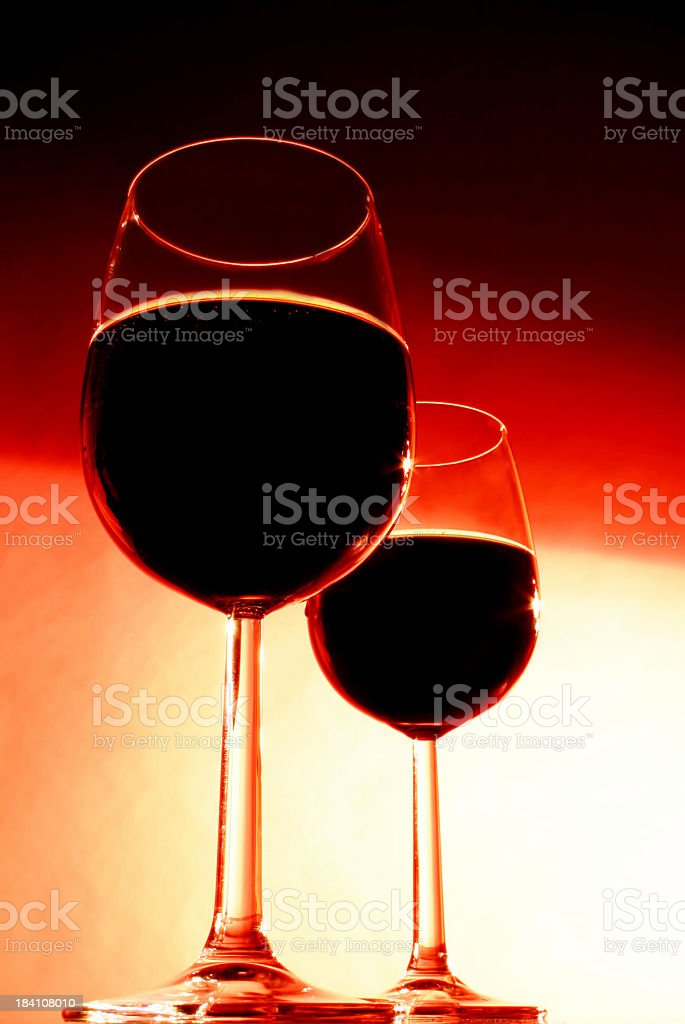 Alcohol - 2 glasses of red wine stock photo
