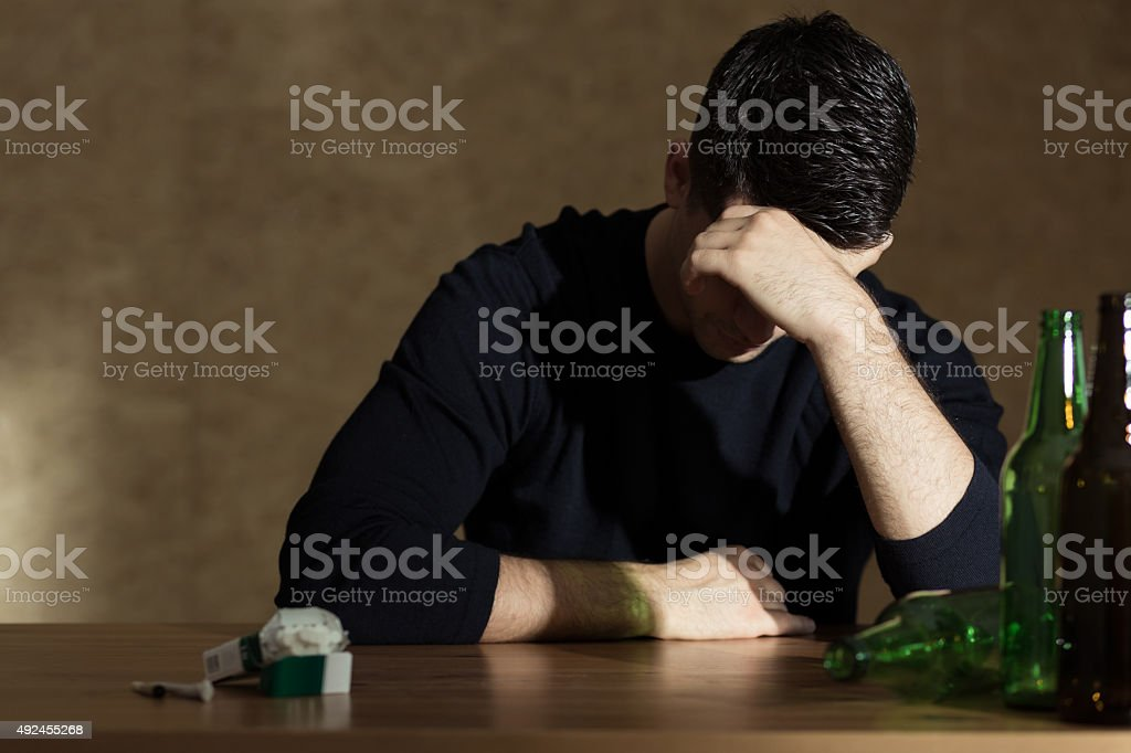 Alcohol addiction among young people stock photo