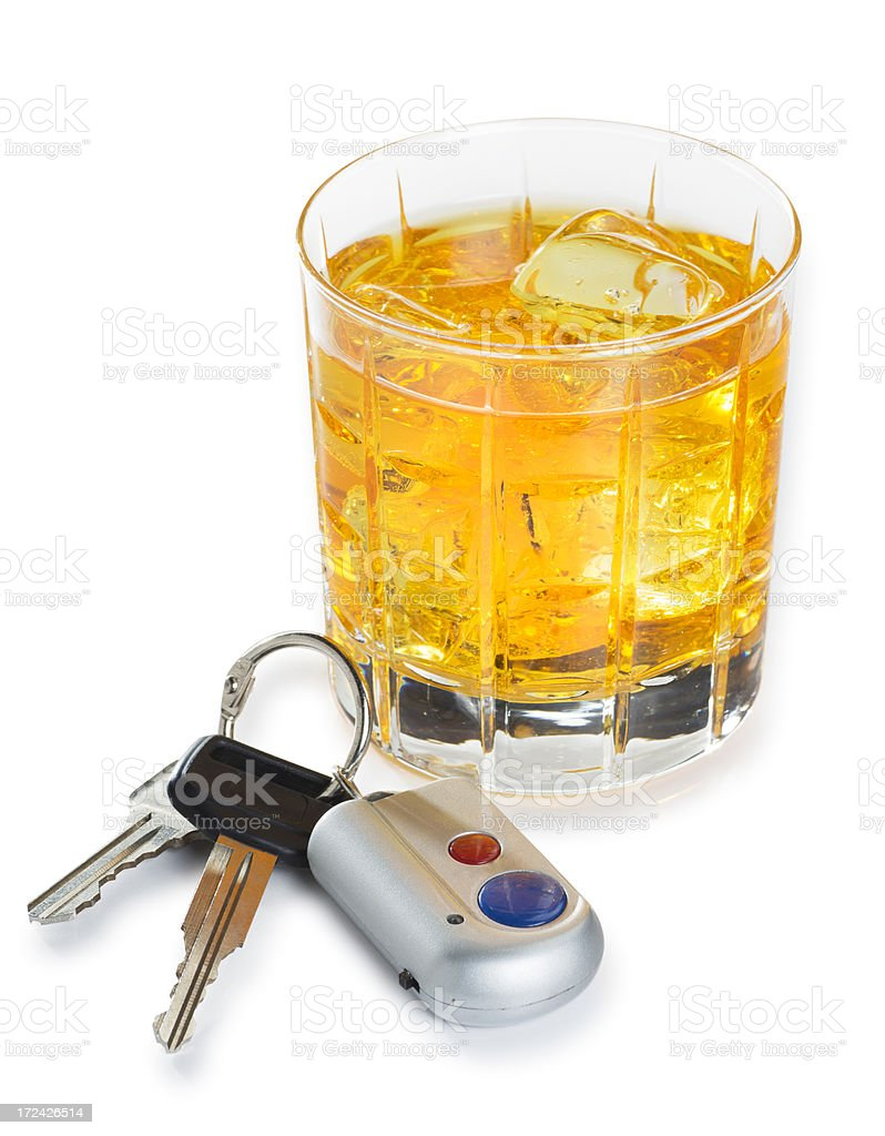 Alcohol and Car Keys Isolated on White royalty-free stock photo