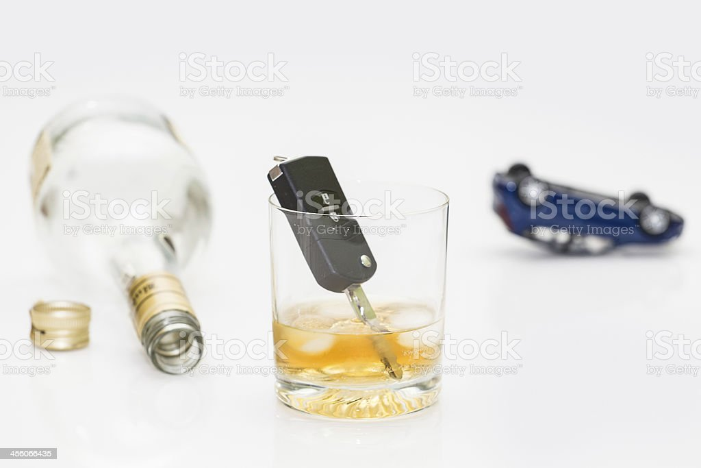 alcohol and car keys stock photo
