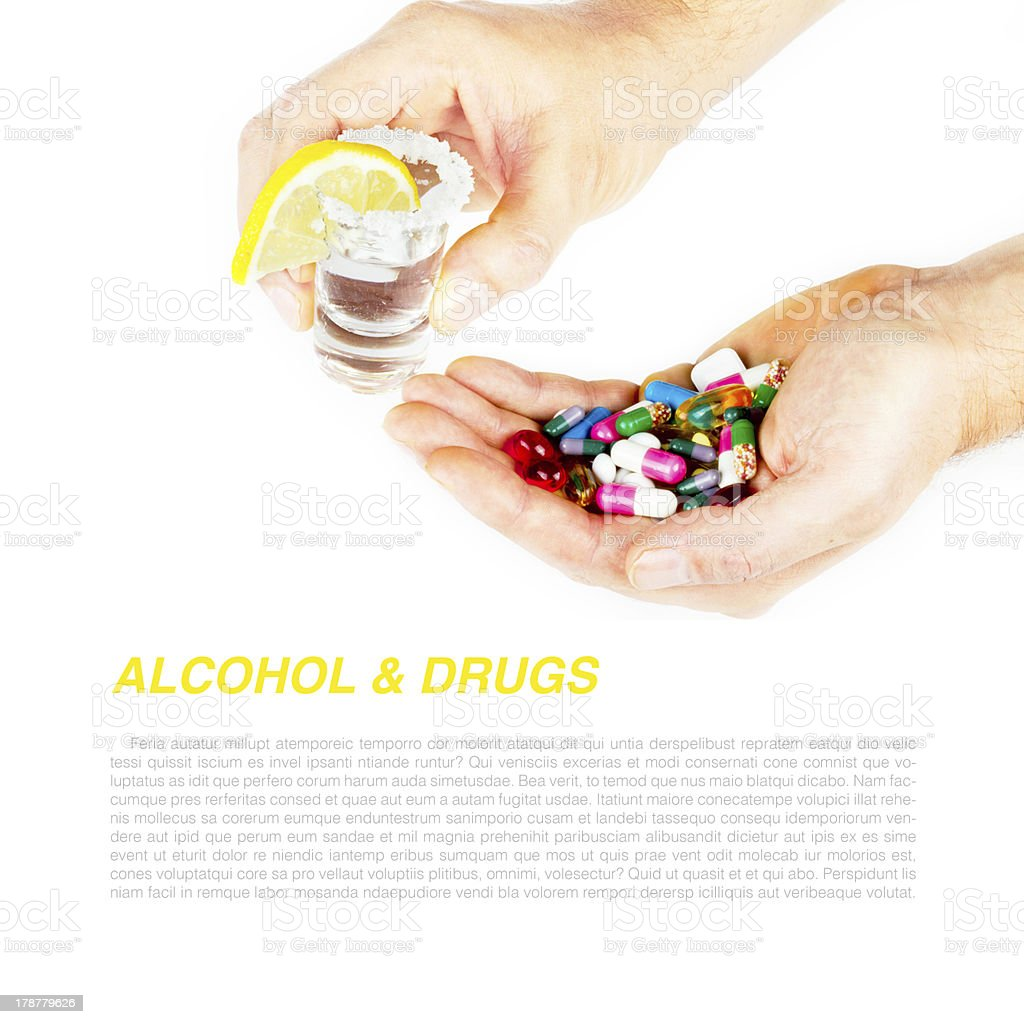 Alcohol and drugs on white background royalty-free stock photo