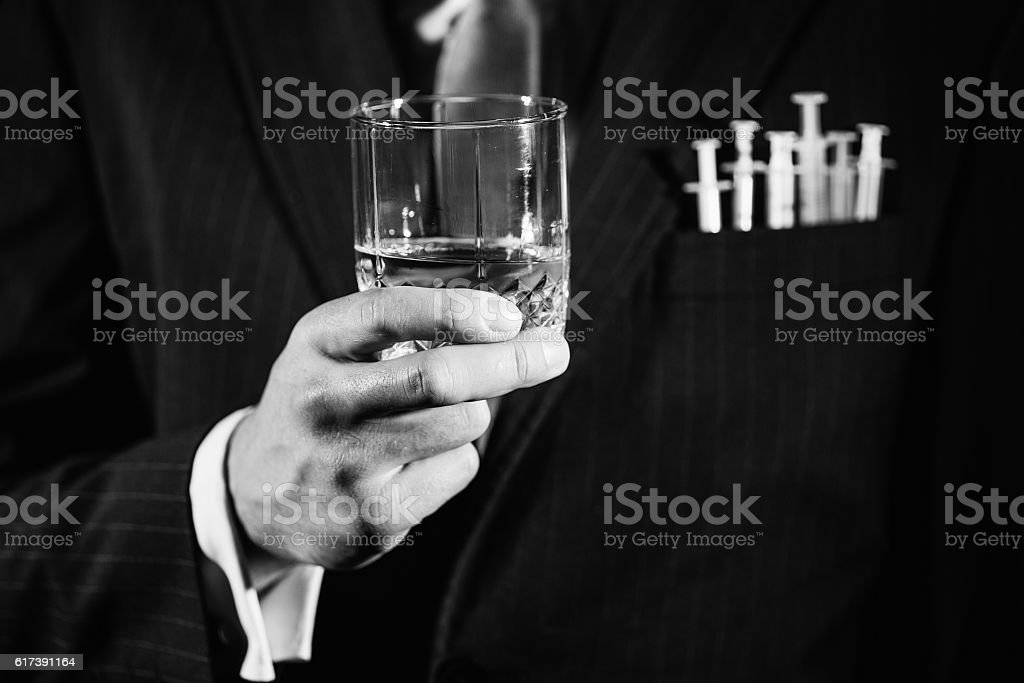 Alcohol and drugs stock photo