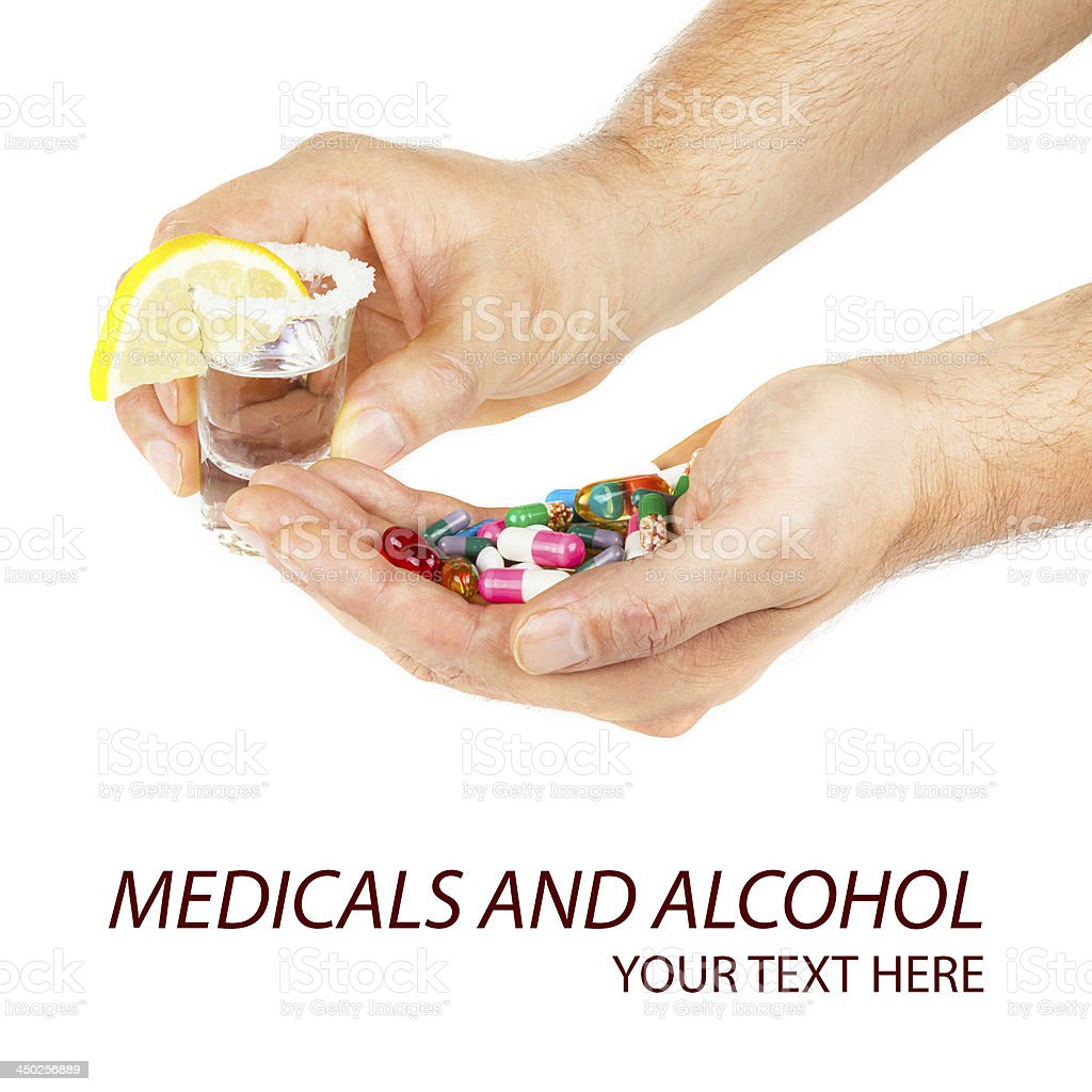 Alcohol and pills royalty-free stock photo