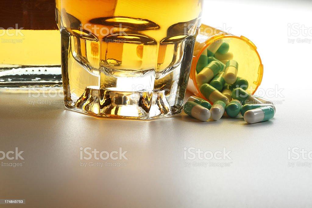 Alcohol and Prescription Medication royalty-free stock photo