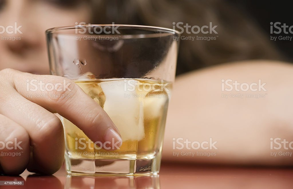 Alcohol and sorrow stock photo